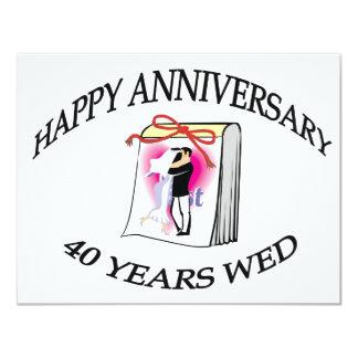 40.o. Aniversario de boda Invitación 10,8 X 13,9 Cm