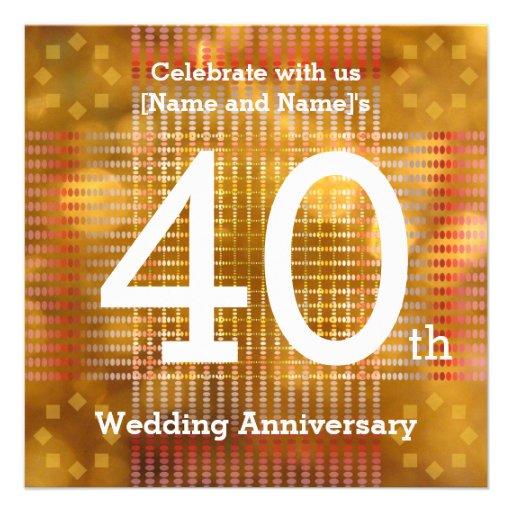 40.o Aniversario de boda - invitación de oro
