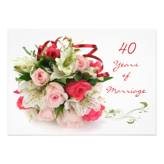 40.o Aniversario de boda.  Rosas y lirios Comunicado Personal