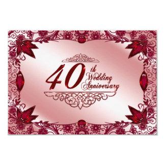 40.o Aniversario de boda RSVP Invitación 8,9 X 12,7 Cm
