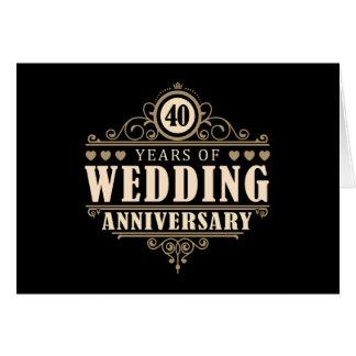 40.o Aniversario de boda Tarjeta De Felicitación