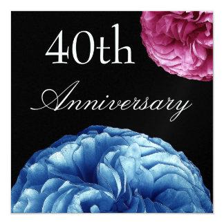 40.o aniversario - rosado y rosas azules metálicos invitación 13,3 cm x 13,3cm
