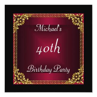 40.o art déco del rojo del negro de la fiesta de invitación 13,3 cm x 13,3cm