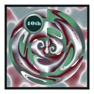 40.o Arte verde y rojo del cumpleaños de Digitaces Invitación 13,3 Cm X 13,3cm