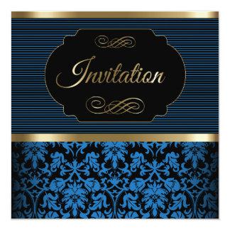 40.o Azul de la fiesta de cumpleaños el |, oro y Invitación 13,3 Cm X 13,3cm