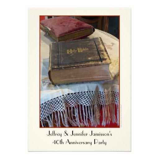 40.o Biblia del vintage de la invitación de la