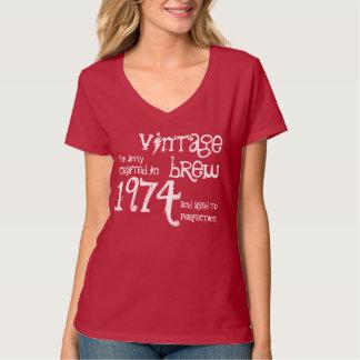 40.o Blanco rojo 1974 del Brew del vintage del Camisetas