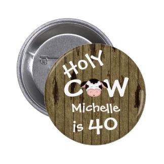 40.o botón personalizado del cumpleaños de la vaca