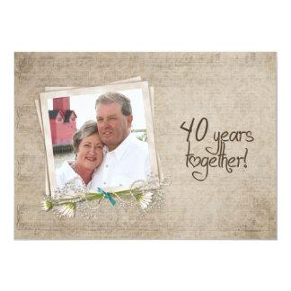 40.o Casa abierta del aniversario de boda Invitación 12,7 X 17,8 Cm