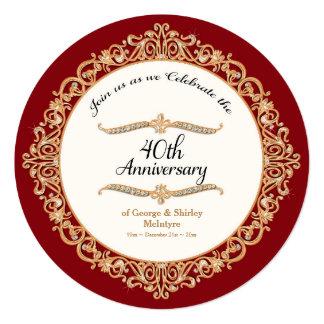 40.o Celebración de rubíes del aniversario de boda Invitación 13,3 Cm X 13,3cm