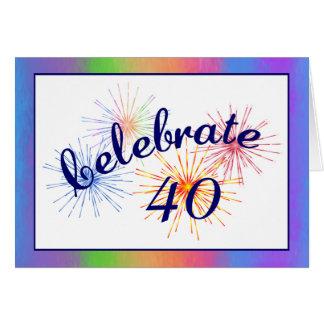 40.o Celebración del cumpleaños Tarjeta De Felicitación