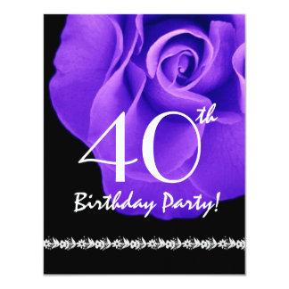 40.o Color de rosa púrpura de la plantilla del Invitación 10,8 X 13,9 Cm