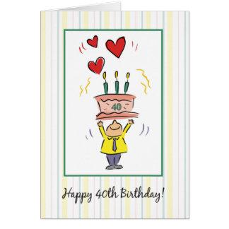 40.o Corazones del cumpleaños Tarjeta De Felicitación