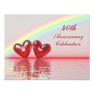 40.o Corazones del rubí del aniversario Invitación 10,8 X 13,9 Cm