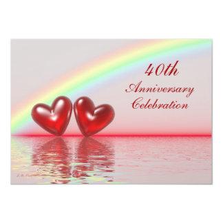 40.o Corazones del rubí del aniversario Invitación 11,4 X 15,8 Cm
