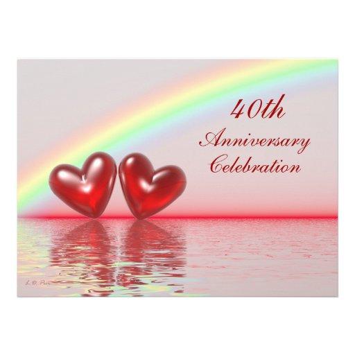 40.o Corazones del rubí del aniversario Invitacion Personal