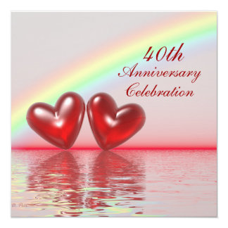 40.o Corazones del rubí del aniversario Invitación 13,3 Cm X 13,3cm