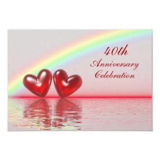 40.o Corazones del rubí del aniversario Invitación 8,9 X 12,7 Cm