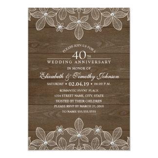 40.o Cordón de madera rústico del país del Invitación 12,7 X 17,8 Cm