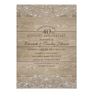 40.o Cordón de madera rústico del vintage del Invitación 12,7 X 17,8 Cm