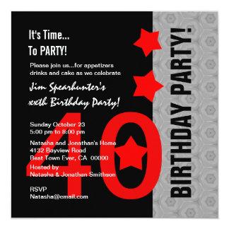 40.o Cumpleaños A02 divertido negro de plata rojo Invitación 13,3 Cm X 13,3cm