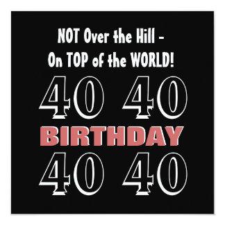 40.o Cumpleaños Borgoña moderna G308 divertido Invitación 13,3 Cm X 13,3cm