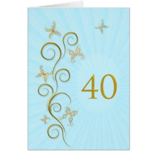 40.o Cumpleaños con las mariposas de oro Tarjeta De Felicitación