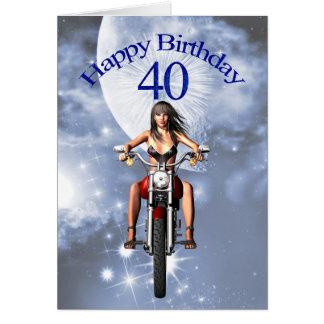 40.o cumpleaños con un chica del motorista tarjeta de felicitación