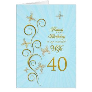 40.o cumpleaños de la esposa con las mariposas de tarjeta de felicitación