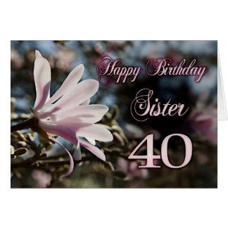 40.o cumpleaños de la hermana con la magnolia tarjetón