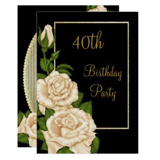 40.o cumpleaños de los rosas de marfil florales invitación 12,7 x 17,8 cm