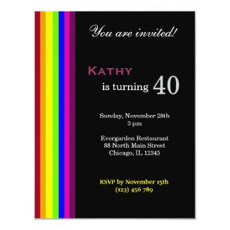 40.o cumpleaños del arco iris invitación 10,8 x 13,9 cm