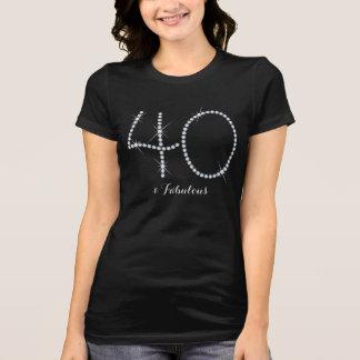 40.o cumpleaños del falso diamante artificial camiseta