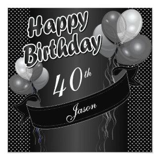 40.o cumpleaños del globo negro invitación 13,3 cm x 13,3cm