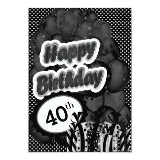 40.o Cumpleaños del jalón Invitación 12,7 X 17,8 Cm