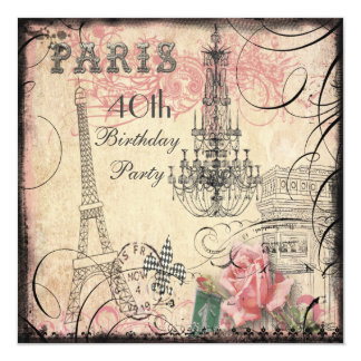 40.o cumpleaños elegante de la torre Eiffel y de Invitación 13,3 Cm X 13,3cm