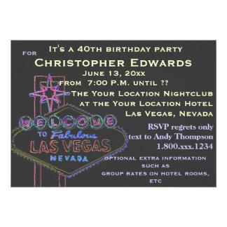 40 o Cumpleaños en Las Vegas para el varón Invitaciones Personalizada