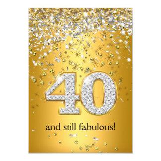 40.o cumpleaños fabuloso de 40 flámulas de plata invitación 12,7 x 17,8 cm