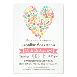 40.o Cumpleaños, fiesta de cumpleaños floral linda Invitación 12,7 X 17,8 Cm