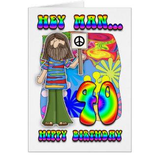 40.o cumpleaños maravilloso - cumpleaños del hippy tarjeta de felicitación