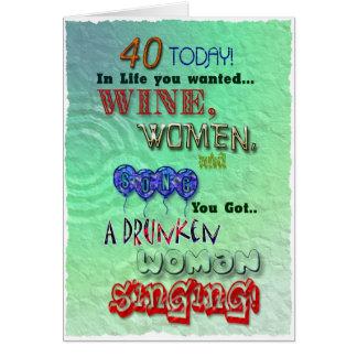 40.o cumpleaños, mujeres del vino y tarjeta de la