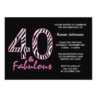 40.o cumpleaños negro y rosado fabuloso de la invitación 12,7 x 17,8 cm