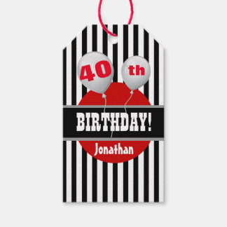 40.o Cumpleaños rayado con los globos 2 Etiquetas Para Regalos