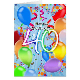 40.o cumpleaños - tarjeta de cumpleaños del globo