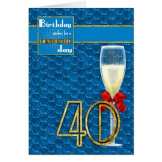 40 o cumpleaños - tarjeta de cumpleaños geométrica