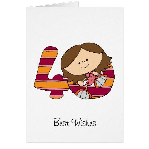 40.o cumpleaños - tarjeta de felicitaciones - chic