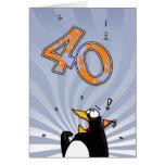 40.o cumpleaños - tarjeta de la sorpresa del pingü