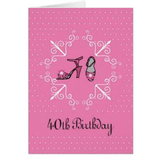 40.o Cumpleaños, zapatos rosados Tarjeta De Felicitación
