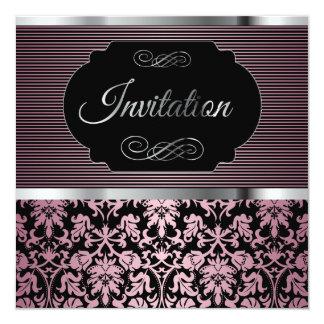 40.o Damasco del rosa de la fiesta de cumpleaños Invitación 13,3 Cm X 13,3cm