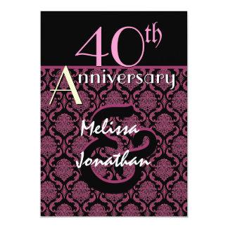 40.o Damasco rosado del aniversario y negro Invitación 12,7 X 17,8 Cm